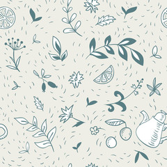 abstract seamless pattern with teapot and floral elements