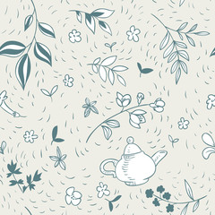 abstract vector seamless pattern with teapot and floral elements