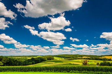 Beautiful summer sky over farm fields in Southern York County, P