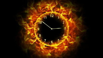 Fiery Clock with Alpha Channel
