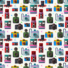 Vector 3D Flat Retro Cameras-seamless