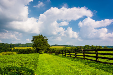 Clouds over fence and farm fields in rural York County, Pennsylv