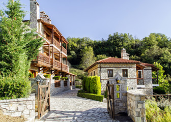 Stone houses in the mountains with balconies