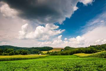 Cloudy sky over farm fields in rural York County, Pennsylvania.