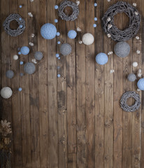 Christmas decoration on grunge wooden board