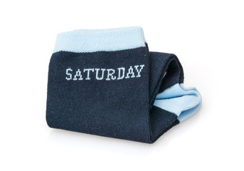 Isolated trendy wool socks with inscription SATURDAY