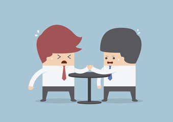 Businessmen in arm wrestling, Business competition concept