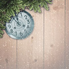 Abstract christmas backgrounds with xmas decorations, old watche