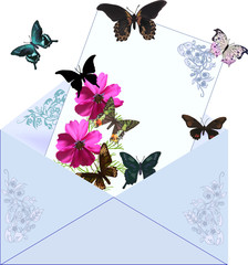 blue envelope with flowers and butterflies