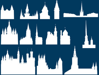 church silhouettes collection isolated on blue