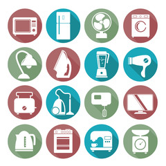 set of household appliances flat icons on colorful round web but