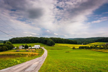 Country road and view of rolling hills in York County, Pennsylva