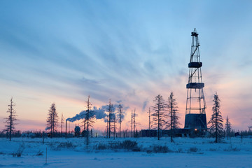 Drilling rig in the north of the Krasnoyarsk Territory