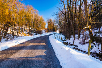 Country road, seen during the winter, in York County, Pennsylvan