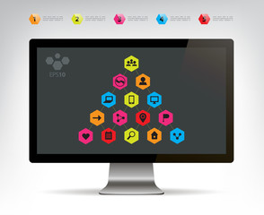 vector social connection infographic pyramid