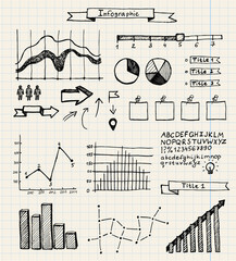 vector set of hand drawn doodle infographics on graph paper