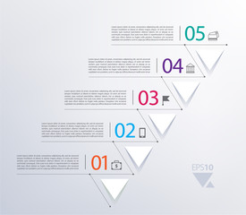 vector timeline infographic with numbers and triangles