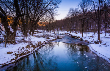 Creek during the winter, in rural York County, Pennsylvania.