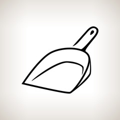 Silhouette dustpan on a light background, vector illustration