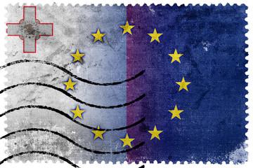 Malta and European Union Flag - old postage stamp
