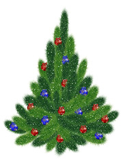 Christmas tree with red and blue balls