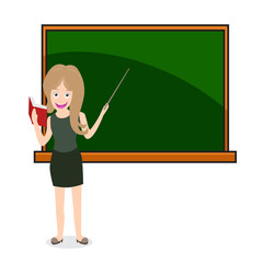 woman teacher at a chalkboard. Holding book and stick.