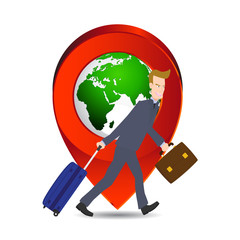 businessman pulling suitcase pin icon, map by NASA