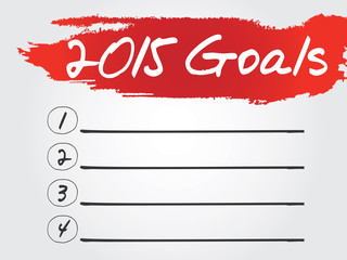Hand writing 2015 Goals List, vector concept background