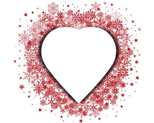 Christmas heart on snowflake background