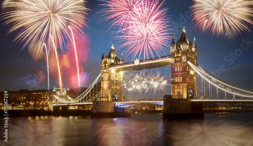canvas print picture Tower bridge with firework, celebration of the New Year in Londo