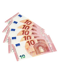 Five 10 euro bills isolated with clipping path