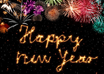 Happy new year - text, firerworks and stars