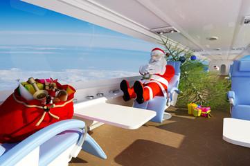 Santa in the plane.