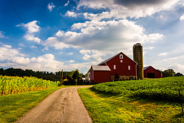 Driveway and red barn in rural York County, Pennsylvania.