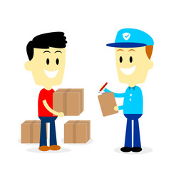 Postman Delivering Parcels to a Man