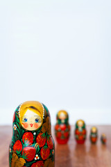 Russian dolls on white background