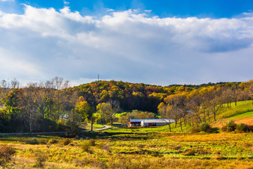 Early autumn color in rural York County, Pennsylvania.