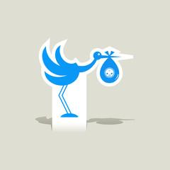 Stork baby icon vector