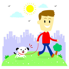 Man Taking His Puppy for a Walk at Park