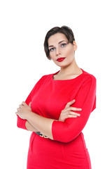 Beautiful plus size woman in red dress