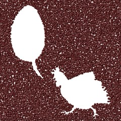 Silhouette of hen in generated coffee texture