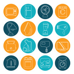 set of household appliances contour icons on colorful round web