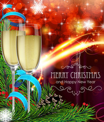 Glasses of champagne on Christmas background