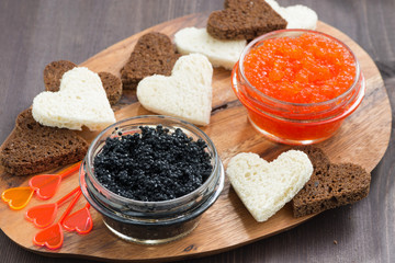 festive appetizer - toasts, red and black caviar