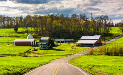 Farm along a country road in rural York County, Pennsylvania.