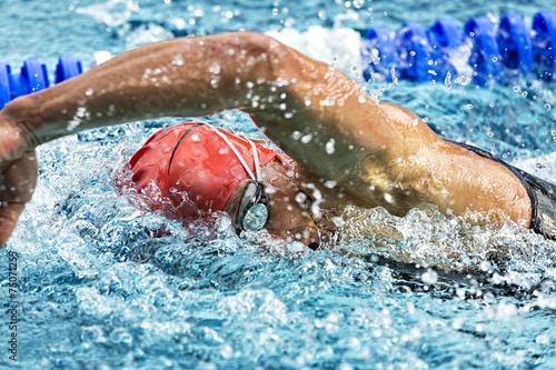 Tuinposter Persoonlijk Kraulschwimmer