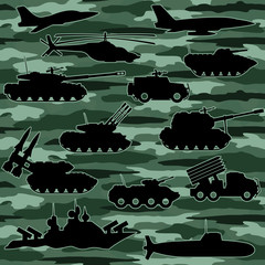 Vector seamless background. Military equipment.