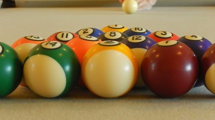 HD clip of a billiard ball triangle during the break shot