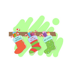 Three Christmas socks. Vector illustration