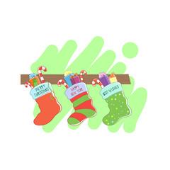 Three Christmas socks. Vector illustration